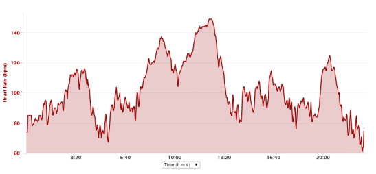 Test 1 - Polar H7 heart rate trace