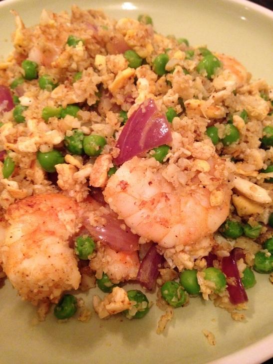 King prawn stir fry with cauliflower rice